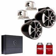 Wet Sounds Icon8b-smini 8 Black Tower Stainless Mini Swivel Clamps Syn-dx2 Amp