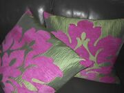 Designer Fabric Pillow Covers Chenille Fabric Large Lotus Purple Green New Pair