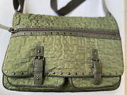 R And Em Green Quilted Nylon Messenger Bag Cross Body Handbag Purse Quilted Large
