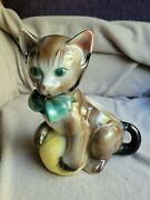 Vintage Royal Copley Brownish Gray Cat With Yellow Yarn Ball Green Bow Planter