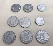 Old Wwii Foreign Coin Lot Franc Dinara Lira Mark Italy France Germany