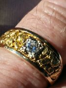 Men's 14/24 K Ring And 1/3 Ct. Diamond Solitaire Size 10 G-h Color Vvs Clarity