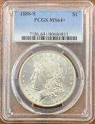 1888-s Morgan Silver Dollar Pcgs Ms64+nice Better Date Coin