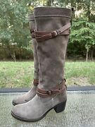 Frye Jane Tall Strappy Womenandrsquos Size 8 M Brown Boots Suede Leather Souch 76395