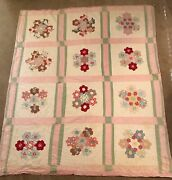 Vintage Cutter Quilt Flower Garden 78 X 66 For Crafts Or Repair Hand Quilted