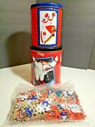 1997 Vintage Coca Cola Jigsaw Puzzle - Sealed In Nested Tins - 7.5 Tall - Bears