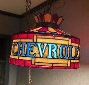 Chevrolet 70s Faux Stained Glass Lamp Light Sign Ad Rare Vintage Chevy Mancave