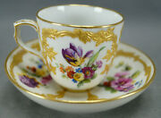 Kpm Berlin Neuzierat Hand Painted Floral And Raised Gold Demitasse Cup And Saucer H