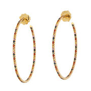 Pave Spphire Hoop Earrings Solid 18k Yellow Gold Handmade Jewelry