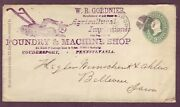 Farming - Foundry - Machine Shop Coudersport Pennsylvania 1891 Ad Cover To Iowa