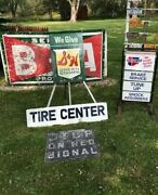 Originalcar Truck Gas Oil Tire Advertising Sign 2 Sided Tire Center 48 Inch Ship