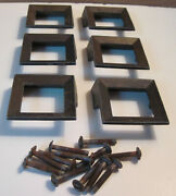 6 Mcm Vintage Solid Brass Square Pulls Drawer Cabinet Geometric Salvage