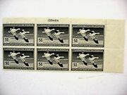 Rw 14 Federal Duck Stamp S 1947 Plate Block Of 6 Mint Vf Nh Orig. Full Gum R W