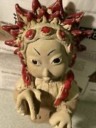 Statue Clay Doll Figure Woman Japanese Figurine Vintage Red Spikey Hair