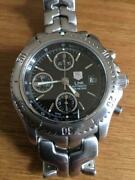 Tag Heuer Link Chronograph Ct2111 Black Date Automatic Ss 45mm X 40mm Japan Mint