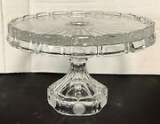 Vintage Fostoria Frosted Coin And Clear Glass Round High Pedestal Cake Stand Plate