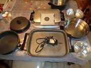 14 Pc. Miracle Maid Pots And Pans Electric Skillet With Cover. Cooking Booklet