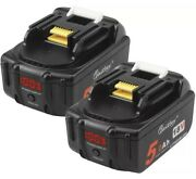 New 2 Pack 4 Makita Rohs Rechargeable 18v Lithium Ion Battery 5.0ah Power Tools