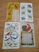 Vintage 1970and039s Kitchen Linen Calendar Dish Towels Of Birds Lot Of 4