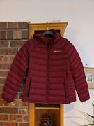 Eddie Bauer Womenand039s First Ascent Down Hooded Jacket Size Large Red Garnet