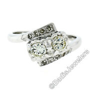 Antique 14k White Gold 1.0ctw 2 Illusion Set Diamond Dual Bypass Ring W/ Accents