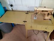 Vintage Singer 403a Sewing Machine In Table W/accessories And Manual