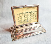Antique 1911 Silver Desk Calendar English Sterling Small Stand Henry Williamson