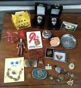 Vintage Junk Drawer Lot Silver Turquoise Jewelry Vintage Toys Smalls Pet Rock