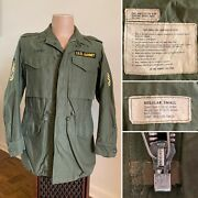 Vtg 60s Us Army M-1951 Field Jacket Patch Og 107 Regular Small Pre M65 M51