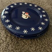 4 Snowman 9 Inch Plates By Noble Excellence Waechtersbach Germany Royal Blue