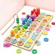 Wooden Number Puzzle Game Montessori Toys For Toddlers - Fishing Game Math Toy