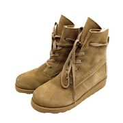 New Bearpaw Krista Suede Lace Up Wool Lining Boots Size 9 Tan Hickory Mid Calf