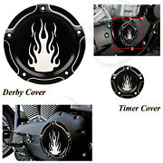 Flame Derby Timer Cover For Harley For Harley Road King Classic Flhrci 2000-2013