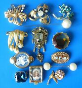 Antique Vintage Costume Jewelry Brooches Lot Bijoux Anciens Broches Fantaisie