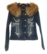 Rrp Andeuro2185 Philipp Plein Couture Womenand039s Limited Edition Denim Jacket Size S