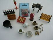 Random Lot Of Dollhouse Miniatures Coca Cola Sewing And Gumball Machine Park Bench