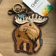 Chala Whimsical Moose Design Key Fob Keychain Vegan Leather - New With Tags