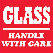 4 X 4 Glass - Handle With Care Labels Red/white 5000 Pcs