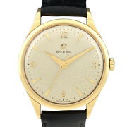 Omega Antique Analog Manual Watch Yellow Gold Cal.284 External Leather Belt