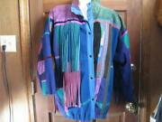Santa Fe Re-creations Denver-leather And Wool Jacket Deep Blueand039s And Purpleand039s Xl