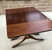 1930and039s Duncan Phyfe Antique Mahogany Drop Leaf Dining Table 3 Leaves 5 Chairs