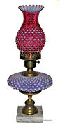 Fenton Cranberry Opalescent Hobnail 389 Lamp With Hurrican Shade