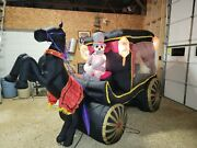 Rare Gemmy Halloween Inflatable 12and039 Hearse W/ Coffin Skeleton Driver See Video