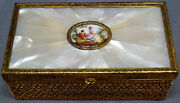 Large French Ovington Bros Porcelain And Mother Of Pearl Bronze Gilt Trinket Box