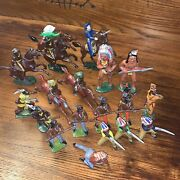 Vintg Lot Of 19 Britains Barclay Manoil Toy Lead Western Cowboy And Indian Figures
