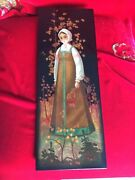 Folk Art Fedoskino Russia Black Gold Lacquer Painting Wooden Plate Russian Girl