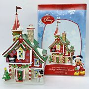 Department 56 Mickeys Christmas Castle Disney Merry Village House W/ Box And Flag