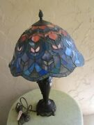 Vintage Style Table Lamp Traditional Bronze Blue Stained Glass