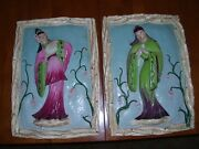 Vintage Oriental Asian Woman And Man Chalkware Wall Plaques