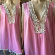 Vintage Vanity Fair Pink Nylon Chiffon Babydoll Nightgown With Bows And Lace L
